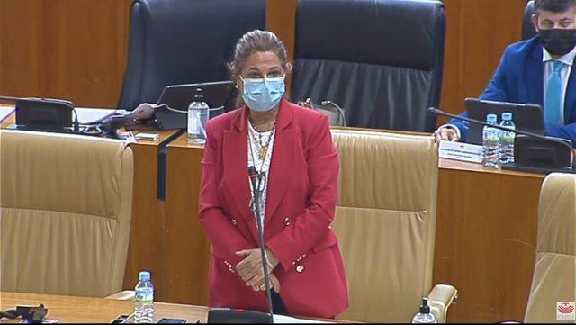 La vicepresidenta primera y consejera de Hacienda y Administración Pública de la Junta de Extremadura, Pilar Blanco-Morales, en el pleno de la Asamblea