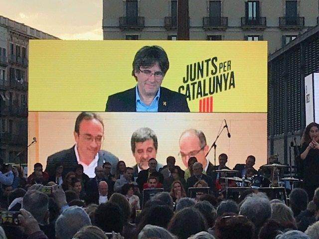 Archivo - Arxiu - Intervencions de Carles Puigdemont, Josep Rull, Jordi Sànchez i Jordi Turull en l'últim acte de JxCat