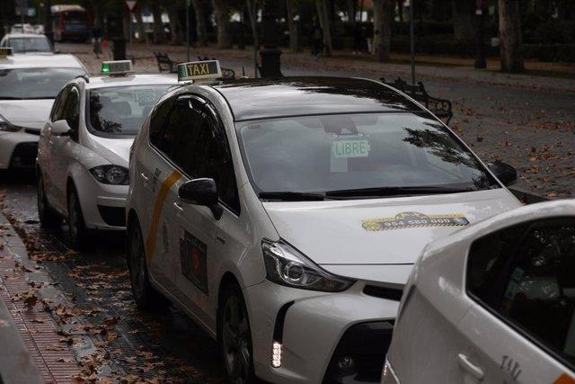 Archivo - Varios taxis en Sevilla