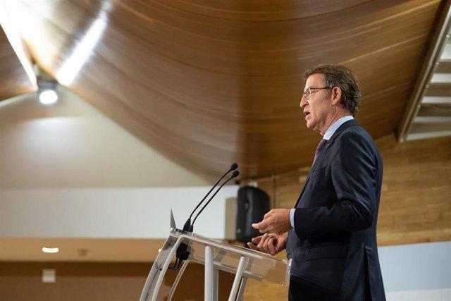 El presidente de la Xunta, Alberto Núñez Feijóo, en la rueda de prensa posteiror al Consello