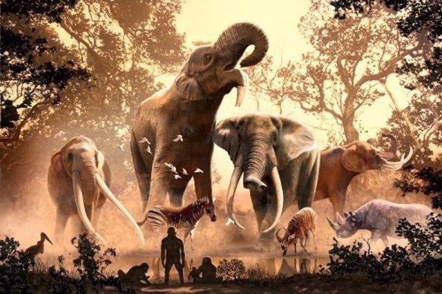 El anochecer cae en la cuenca de Turkana en África oriental hace millones de años