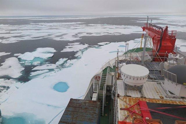 Esta foto del hielo marino en el mar de Wandel al norte de Groenlandia fue tomada el 16 de agosto de 2020 del rompehielos alemán Polarstern, que pasó por el área como parte de la Expedición MOSAiC de un año de duración.