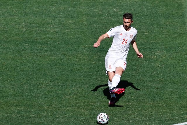Aymeric Laporte of Spain in action during the UEFA EURO 2020 Group E football match between Slovakia and Spain at La Cartuja stadium on June 23, 2021 in Seville, Spain.