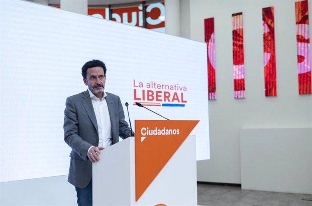 El vicesecretario general de Ciudadanos y portavoz adjunto en el Congreso de los Diputados, Edmundo Bal, en una rueda de prensa en la sede del partido en Madrid.