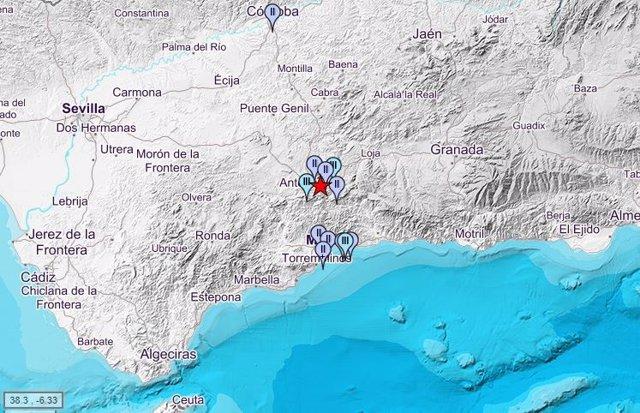 Registrado un terremoto de magnitud 3,4 con epicentro en Antequera y sentido en varios municipios de Málaga