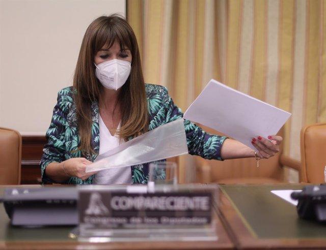 La directora de la Asociación para la Prevención, Reinserción y Atención a la Mujer Prostituida (APRAMP), Rocío Mora Nieto, durante una comisión de seguimiento y evaluación de los Acuerdos del Pacto de Estado en materia de Violencia de Género, a 9 de juni