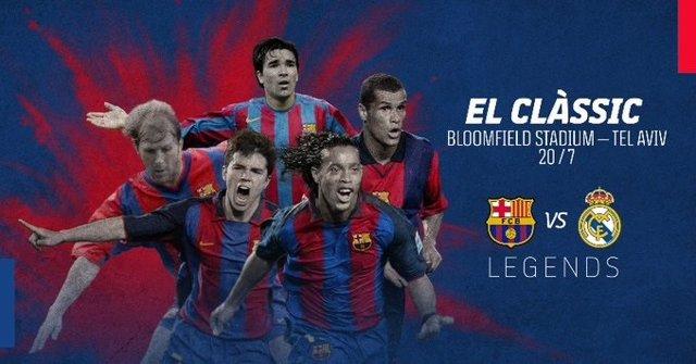 Imagen promocional del 'Clásico de Leyendas' entre Barça y Madrid que se disputará en julio de 2021 en Tel Aviv (Israel)