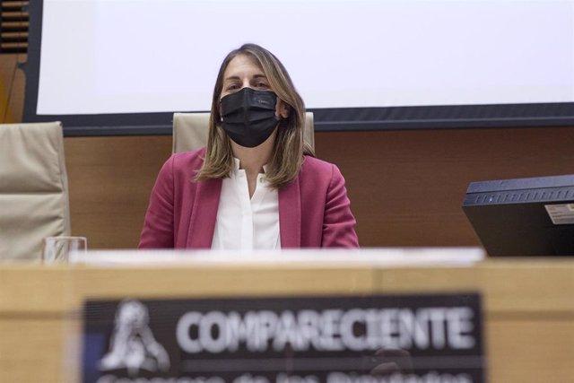 Archivo - La presidenta del FROB, Paula Conthe Calvo, comparece en la Comisión para la auditoría de la calidad democrática, la lucha contra la corrupción y las reformas institucionales y legales en el Congreso de los Diputados, a 12 de mayo de 2021.
