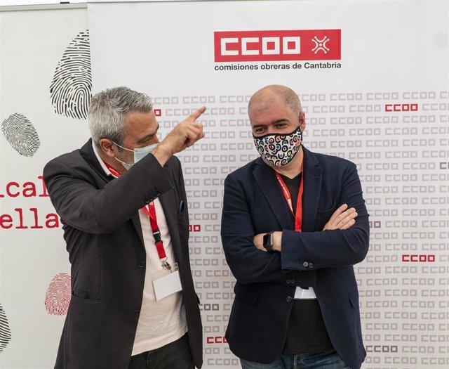 Los secretarios generales de CCOO, Unai Sordo, y de Cantabria, Carlos Sánchez
