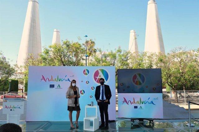 El vicepresidente de la Junta y consejero de Turismo, Juan Marín, este lunes en la presentación de la Skill de Alexa sobre turismo de Andalucía.