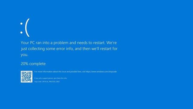 Pantalla azul de la muerte de Windows 10.