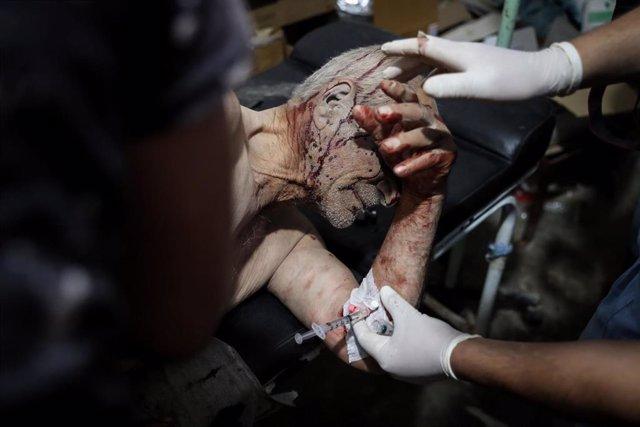 Hombre herido en Idlib