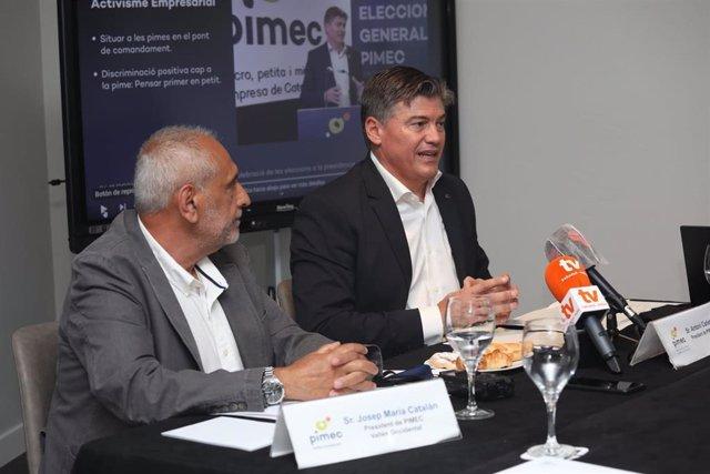 El presidente de Pimec Vallès Occidental, Josep Maria Catalan, y Pimec, Antonio Cañete