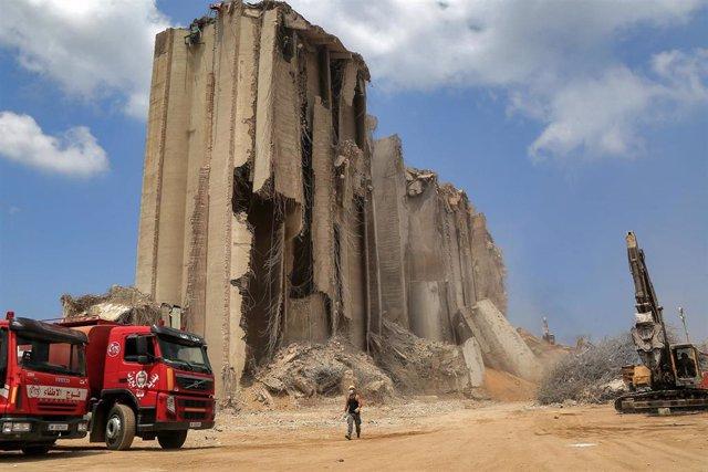 Archivo - Daños causados por la explosión en el puerto de la capital de Líbano, Beirut