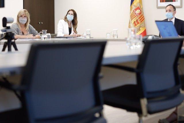 La ministra de Cultura i el cap de govern d'Andorra en l'última reunió telemàtica del Patronat de la Fundació Ramon Llull