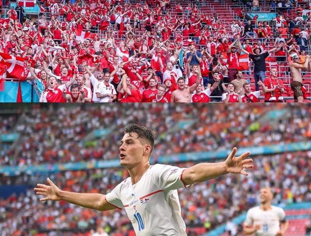 Fans of Denmark celebrate the victory after the UEFA Euro 2020, round of 16 football match between Wales and Denmark on June 26, 2021 at the Johan Cruijff ArenA in Amsterdam, Netherlands - Photo Marcel ter Bals / Orange Pictures / DPPI