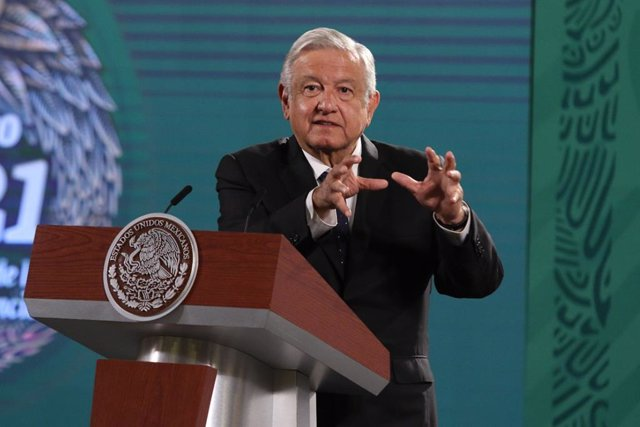 23 June 2021, Mexico, Mexico City: Mexican President Andres Manuel Lopez Obrador speaks during his daily press conference at the National Palace. Photo: El Universal/Zuma Press/dpa