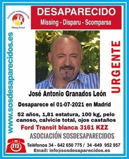 Buscan desde ayer a un hombre de 52 años desaparecido en Madrid