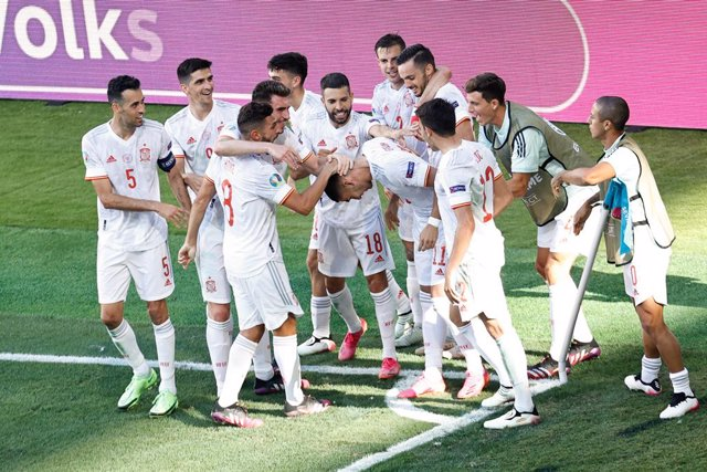 Ferran Torres of Spain celebrates a goal with teammates during the UEFA EURO 2020 Group E football match between Slovakia and Spain at La Cartuja stadium on June 23, 2021 in Seville, Spain.