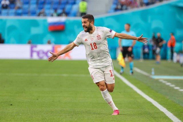 Jordi Alba celebra el 0-1 en el Suiza-España de cuartos de final de la Eurocopa 2020