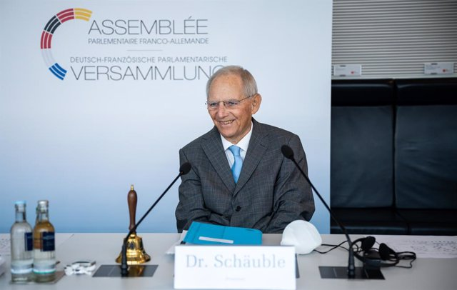 28 June 2021, Berlin: Bundestag President Wolfgang Schaeuble sits in the German Bundestag ahead of the opening of the last session of the Franco-German Parliamentary Assembly of this Bundestag election period, which takes place as a hybrid event. The Fran