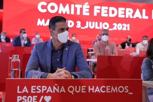 El presidente del Gobierno, Pedro Sánchez, durante una reunión de los componentes del Comité Federal del PSOE, a 3 de julio de 2021, en Madrid, (España)