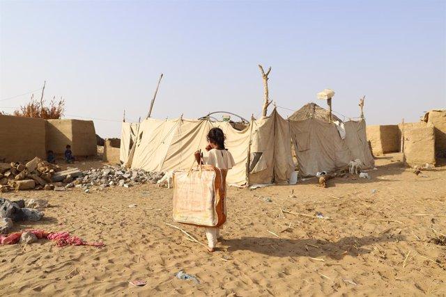 Archivo - Desplazados internos en el norte de Yemen