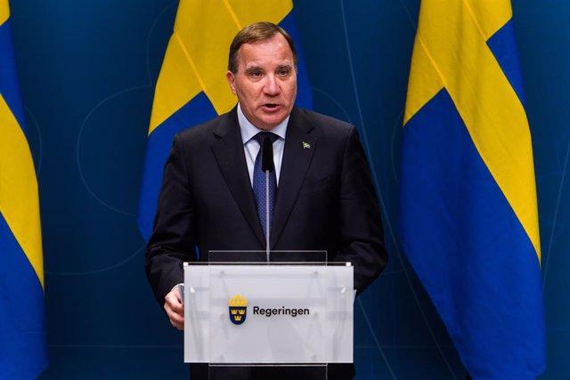 Archivo - 22 April 2020, Sweden, Stockholm: Swedish Prime Minister Stefan Loefven speaks during a government press conference on the coronavirus, (Covid-19) updated. Photo: Maxim Thore/Bildbyran via ZUMA Press/dpa
