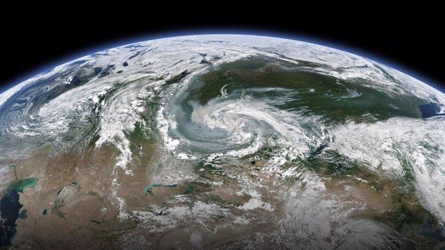 Vista de satélite de los incendios en Siberia, Rusia