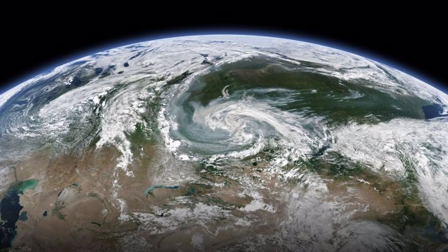 Vista de satèl·lit dels incendis a Sibèria, Rússia