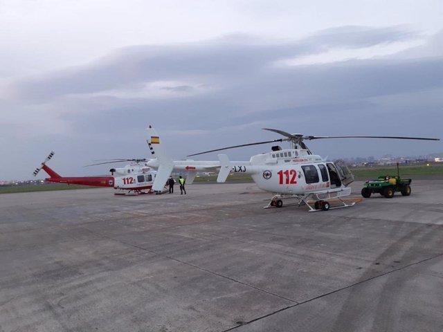 Helicóptero del 112 en el aeropuerto 'Seve Ballesteros'
