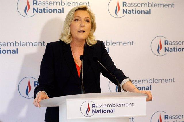La líder del partido de ultraderecha francés Agrupación Nacional, Marine Le Pen