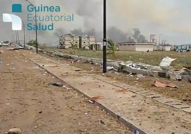 Archivo - Lugar de las explosiones que han devastado Bata, originadas en un cuartel militar