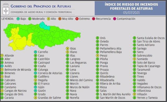 Mapa de riesgo de incendio forestal por municpios.
