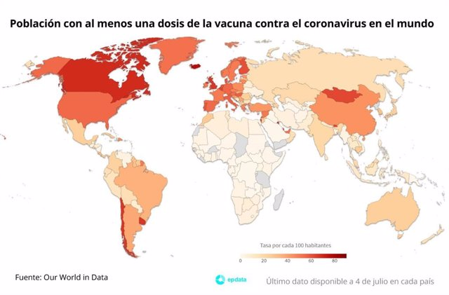 Población con al menos una dosis de la vacuna contra el coronavirus en el mundo por cada 100 habitantes