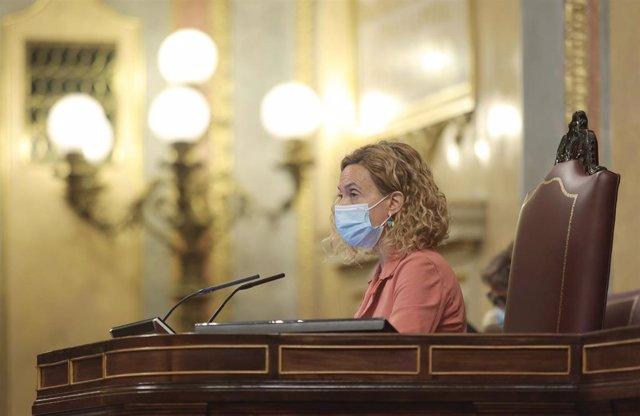 La presidenta del Congreso de los Diputados, Meritxell Batet, en una sesión plenaria en el Congreso