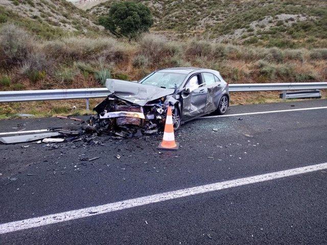 Accidente de tráfico en la N-230, a la altura de Castillonroy (Huesca), el pasado 12 de junio