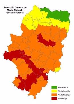 Alerta roja de peligro de incendios forestales en varias zonas de las tres provincias.