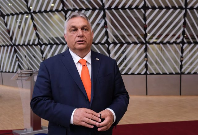HANDOUT - 24 June 2021, Belgium, Brussels: Hungarian Prime Minister Viktor Orban, speaks to media as he arrives on the first day of a two-days European Union summit at the European Council. Photo: Alexandros Michailidis/European Council/dpa - ATTENTION: e