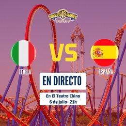 Parque de Atracciones de Madrid y Parque Warner ofrecerán el Italia-España de la Eurocopa.