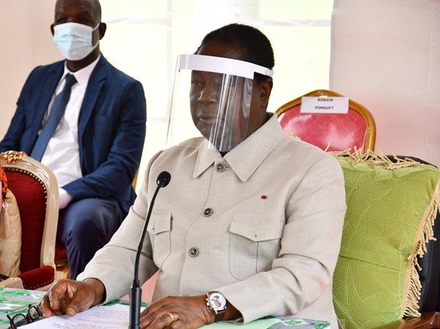 Archivo - El candidato de la oposición a presidente de Costa de Marfil, Henri Konan Bédié