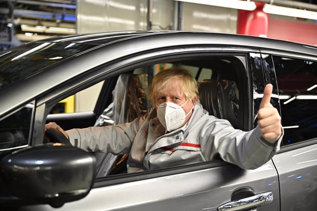 01 July 2021, United Kingdom, Sunderland: UK Prime Minister Boris Johnson visits the Nissan plant in Sunderland following the announcement by the car company of creating thousands of jobs making batteries for electric vehicles at a new gigafactory. Photo: