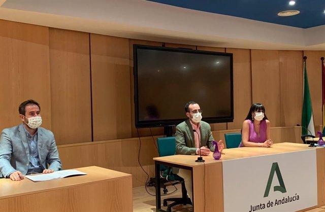 El delegado de Empleo, Ángel Herrador (centro), acompañado de la Secretaria General de Empleo, María Carmen Martínez, y el director del Centro de Prevención de Riesgos Labroales, José Antonio Leiva, durante la comisión provincial.