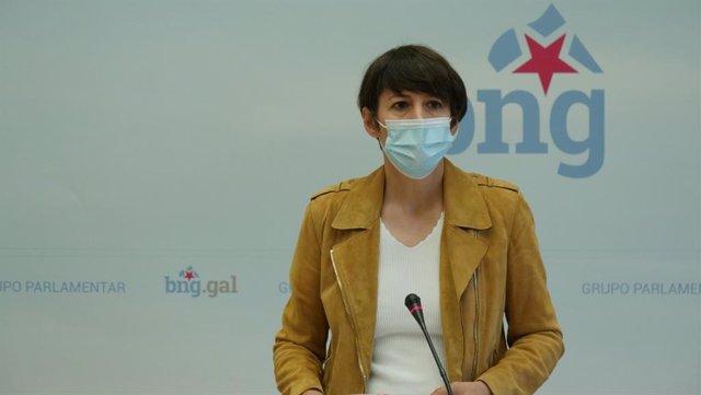 La portavoz nacional del BNG, Ana Pontón, en rueda de prensa en el Parlamento gallego