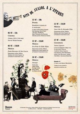 Cartell de la programació cultural del Jardí Romàntic de l'Ateneu Barcelonès