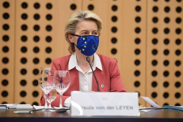 01 July 2021, Slovenia, Ljubljana: European Commission President Ursula von der Leyen attends a meeting with Slovenia's Prime Minister Janez Jansa at Brdo Castle, as Slovenia takes over the presidency of the European Union. Photo: Nebojsa Tejic/STA/dpa