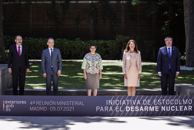 (I-D) El ministro de Exteriores de Jordania, Ayman Safadi; el ministro de Exteriores de Alemania, Heiko Maas; la ministra de Asuntos Exteriores, UE y Cooperación, Arancha González Laya; la ministra de Exteriores de Suecia, Ann Linde; y el ministro de Exte