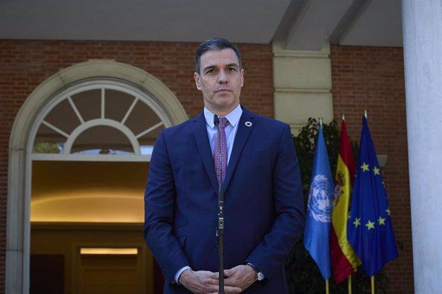 El presidente del Gobierno, Pedro Sánchez, interviene en una rueda de prensa posterior a una reunión con el secretario general de las Naciones Unidas, 2 de julio de 2021, en el Palacio de La Moncloa, Madrid. (España).