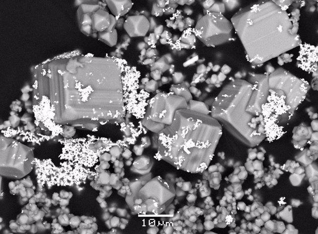Microfotografía de microscopía electrónica de barrido que muestra micropartículas de oro (color brillante) depositadas con cristales de pirita de una solución hidrotermal en un experimento de laboratorio.