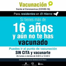 Cartel informativo de vacunación para residentes en El Hierro mayores de 16 años